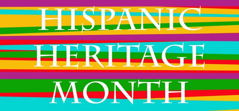 multicolored background with Hispanic Heritage Monthtext