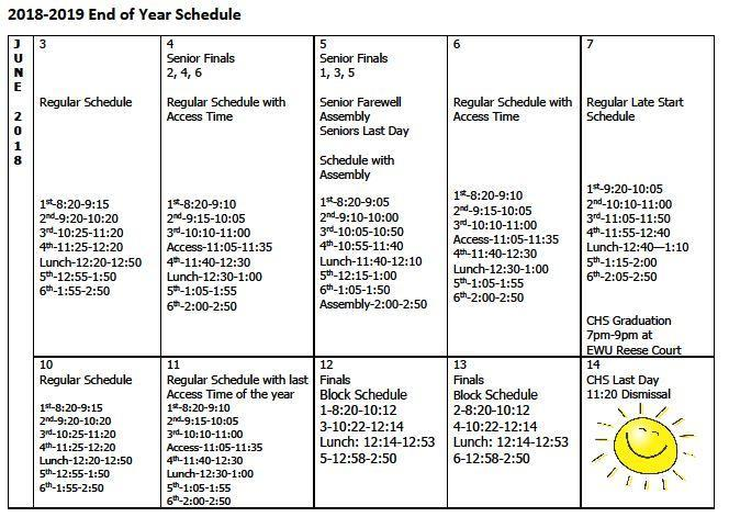 End of the Year Schedule Thumbnail Image