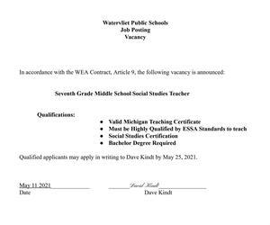Middle School Job Posting for Social Studies Teacher details