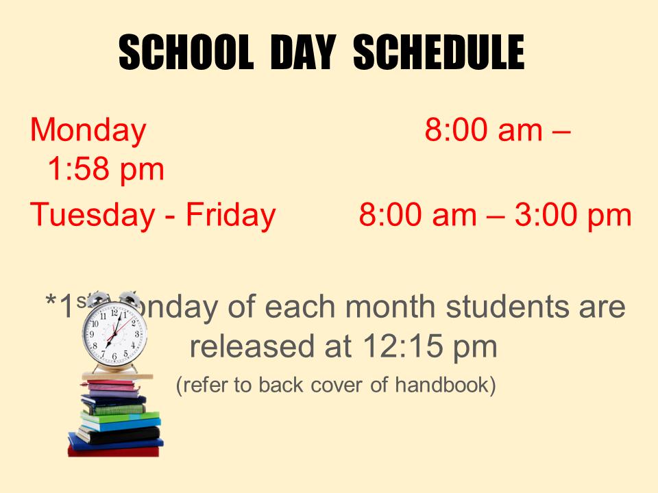 School Day Schedule power point slide