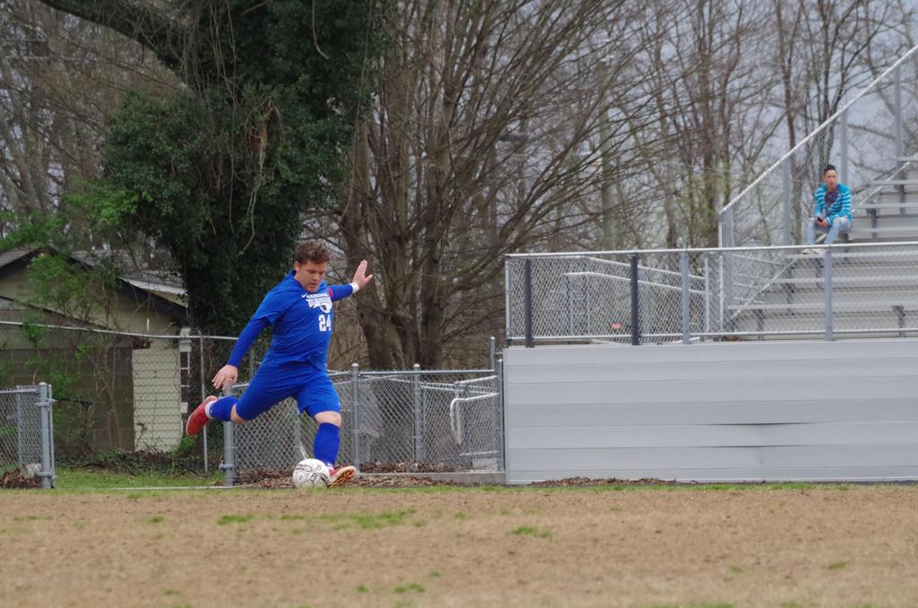 2018 HHS Soccer-Acosta kicking at the side line
