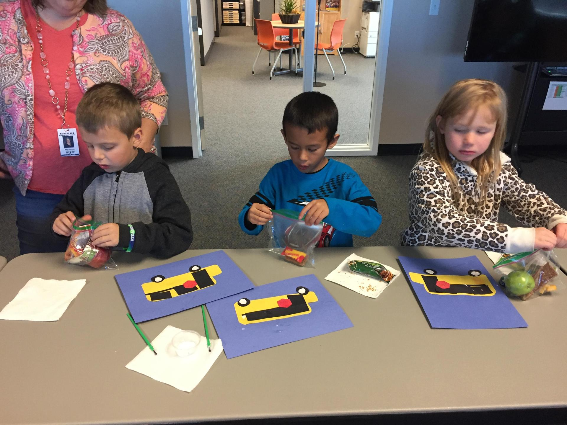 Northlake Elementary School Students art while touring the district office