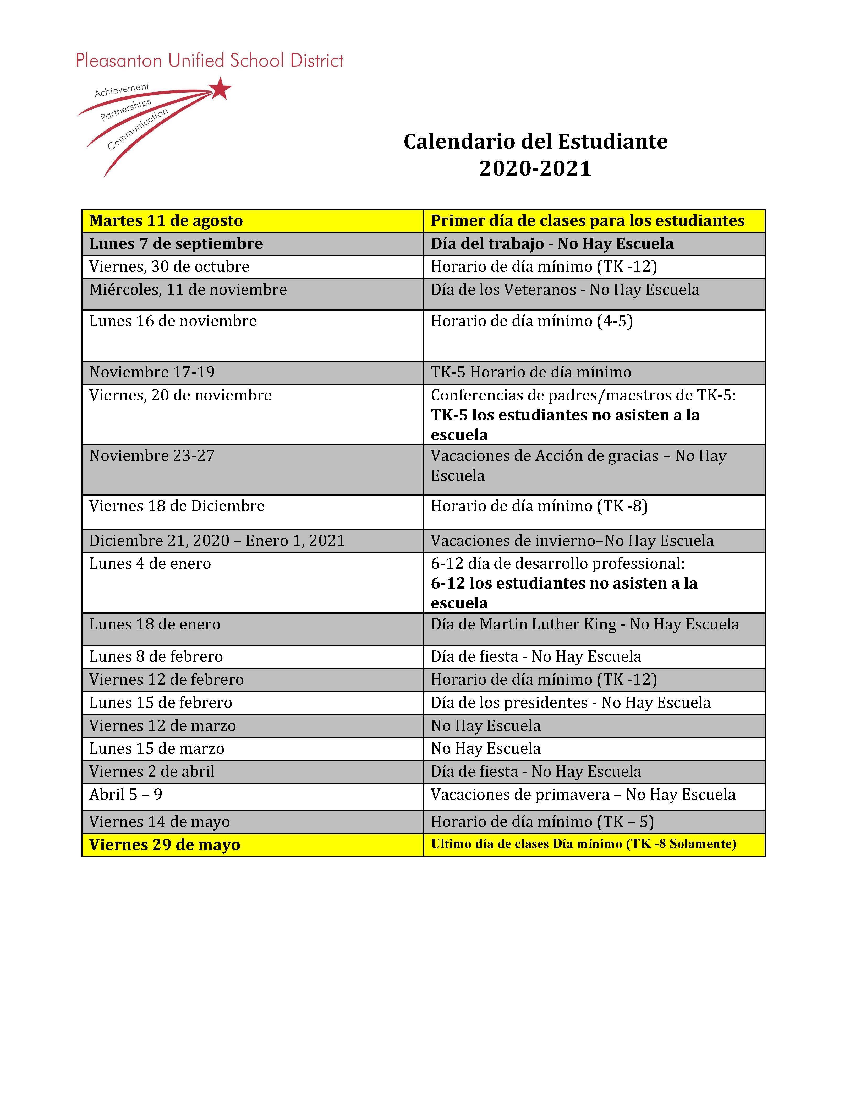 Ousd Calendar 2022 23.Calendars Miscellaneous Pleasanton Unified School District