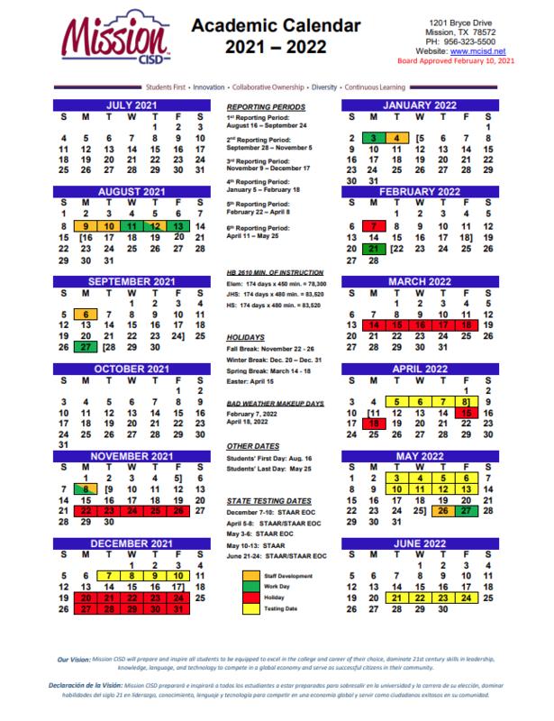 2021-2022 District Academic Calendar Featured Photo