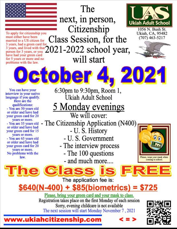 The next citizenship class session starts October 4, 2021, poster.