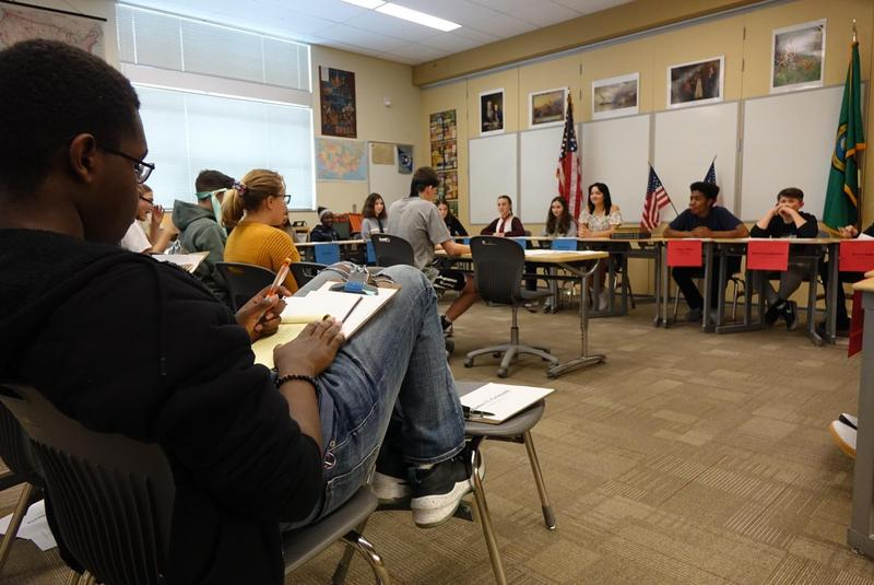 Eighth grade Social Studies students interacted in an Impeachment Congressional Hearing Simulation. Thumbnail Image
