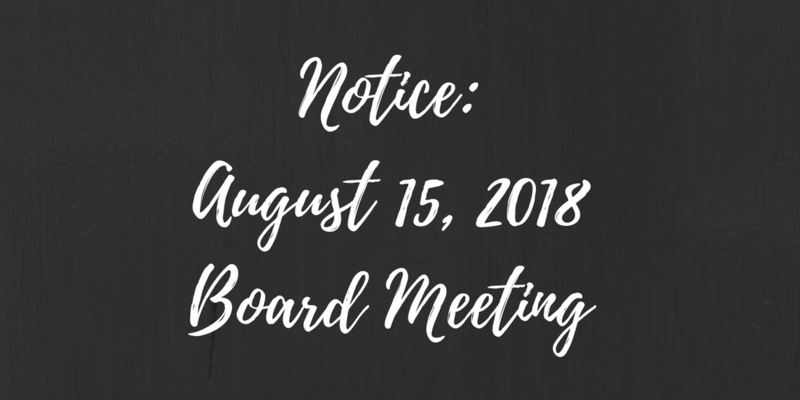 Special Board Meeting - August 15th, 2018 Thumbnail Image