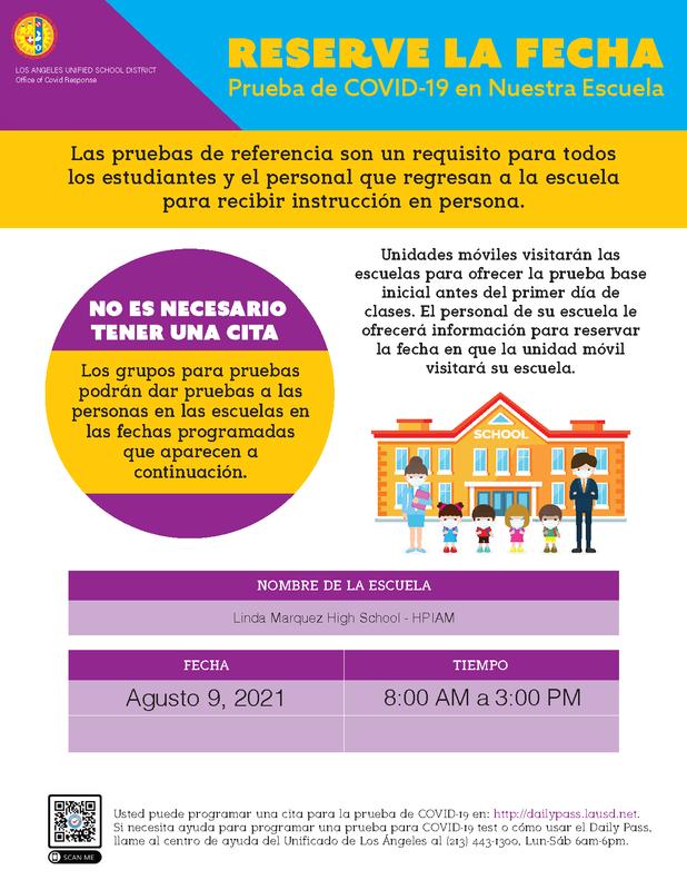 Los equipos de prueba COVID-19 estarán en Linda Marquez HS el 9 de agosto de 2021, de 8:00 AM A 3:00 PM Thumbnail Image