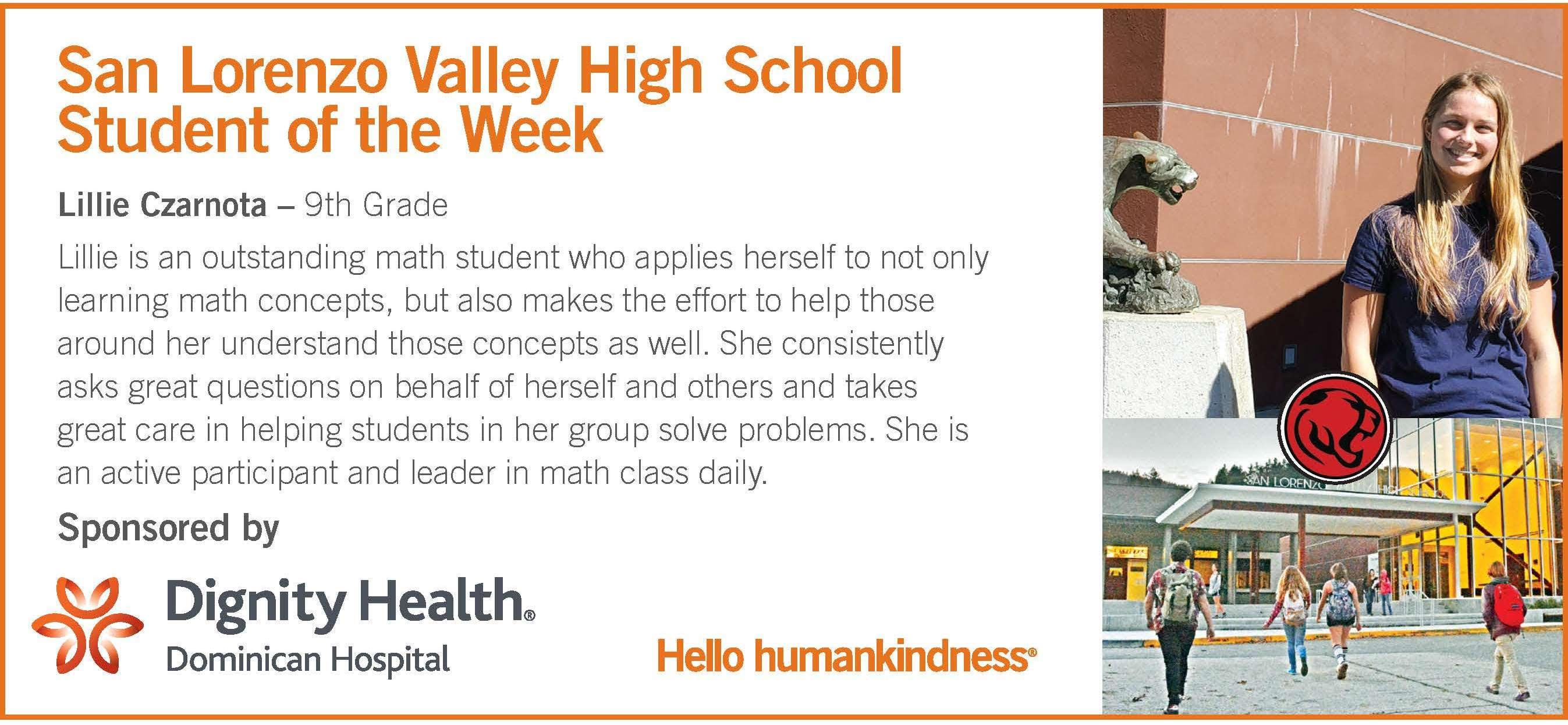 HS Student of the Week: Lillie Czarnota -9th
