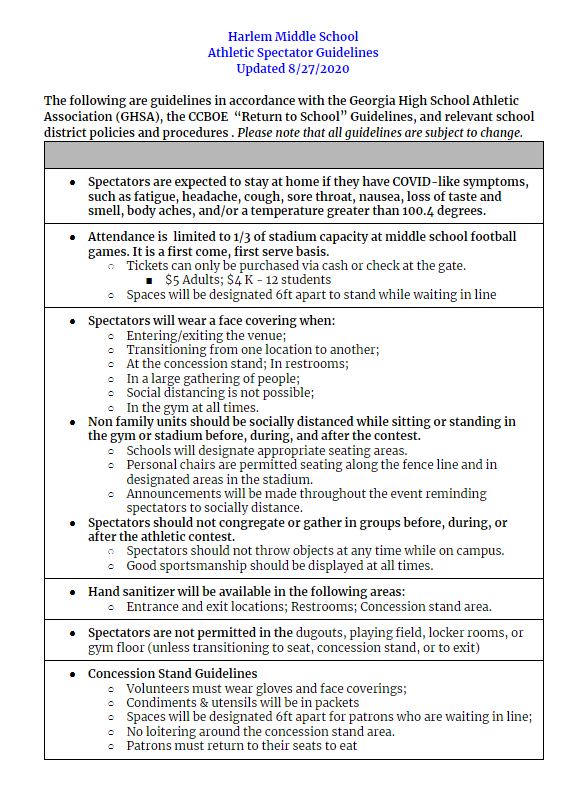 Spectator Guidelines