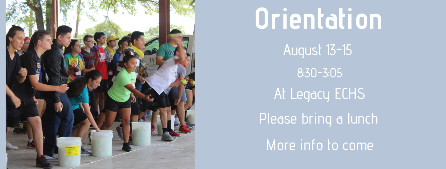 New Student Orientation 8/13-8/15