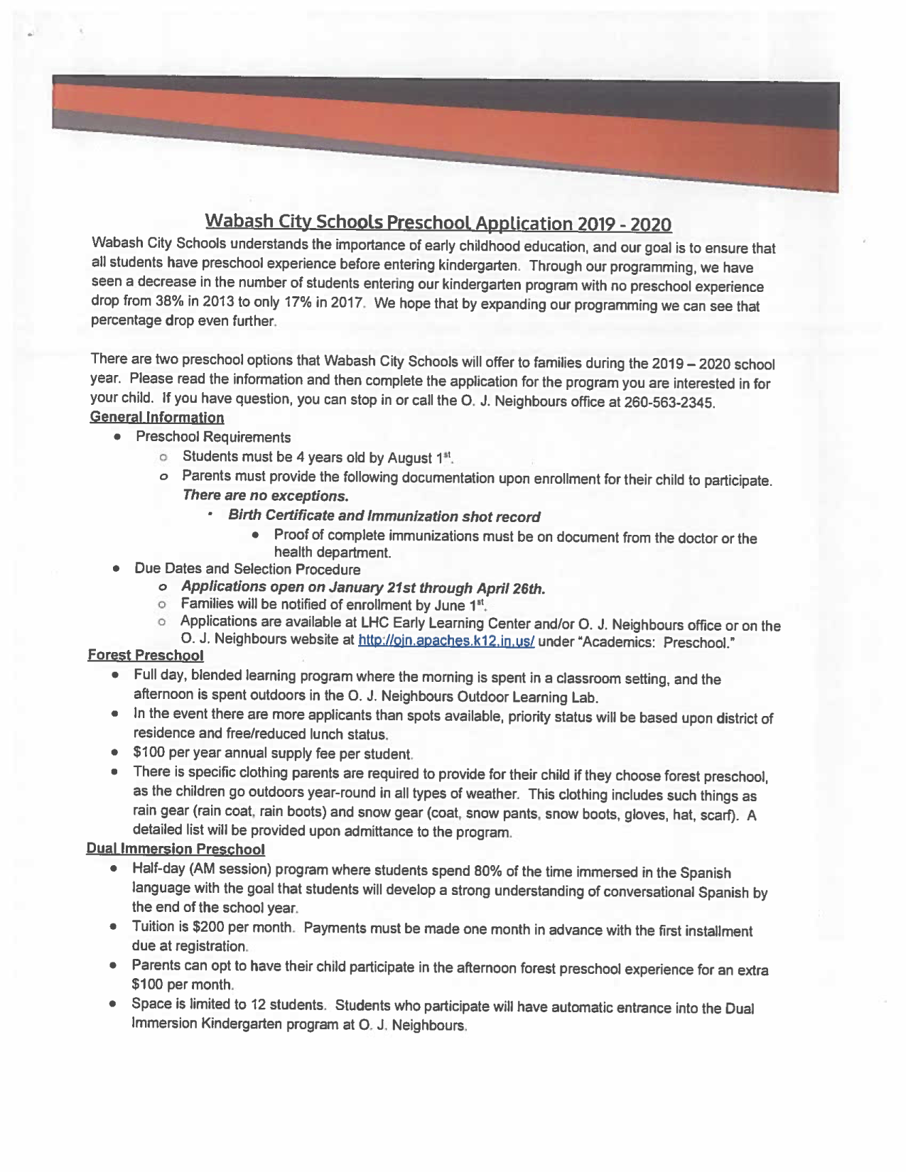 2019-2020 Preschool Application Page 1