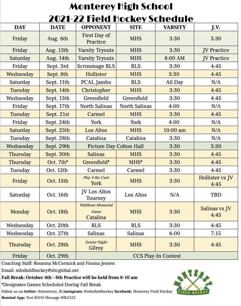 Field Hockey Schedule