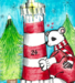 Polar bear hugging light house