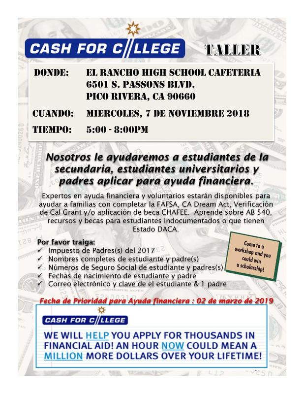 Cash for College Flyer-Spanish