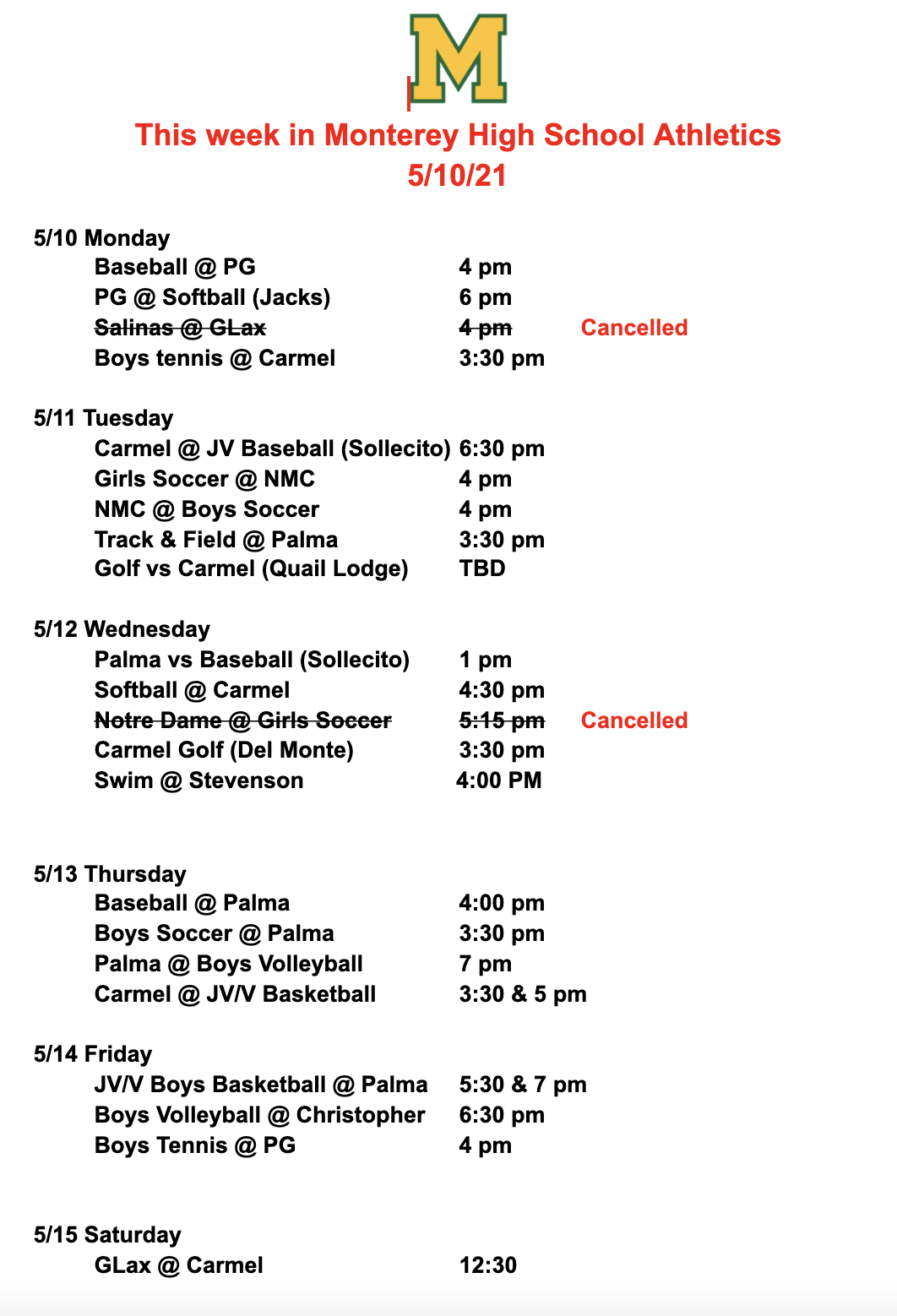 Athletic Events May 10th