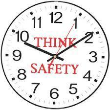 clip art of clock that says Think Safety