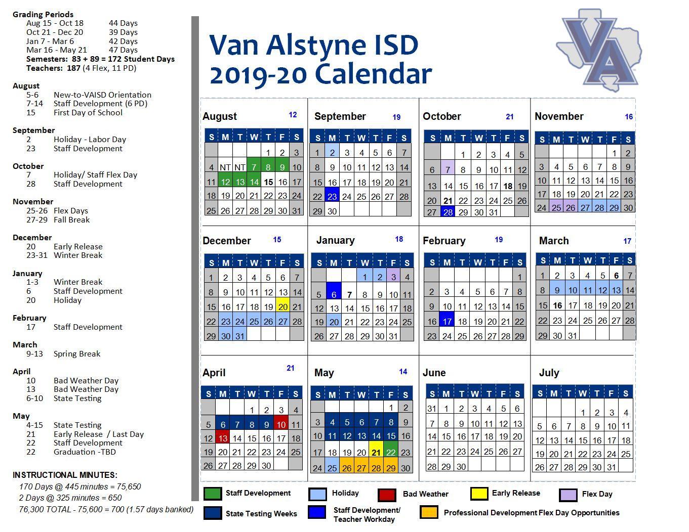 Dc Calendar February 4 2020 School Calendars – Links Box – Van Alstyne ISD