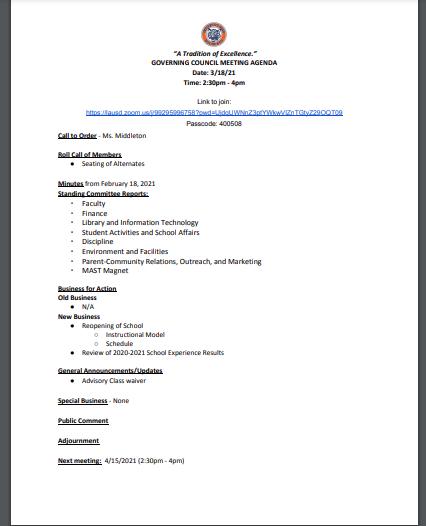 Governing Council Meeting - 3/18/2021 Thumbnail Image