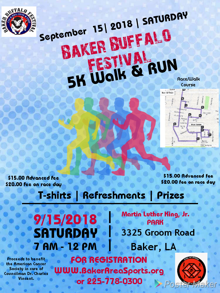 Flyer advertising Baker Buffalo Festival 5k Walk & Run for 2018