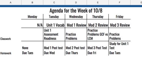 6th Grade Agenda for Week of 10/8