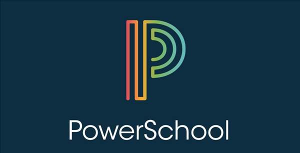 the image is a blue background with a stylized P in rainbow colors. the words PowerSchool are below the P in white text.