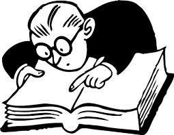 Man looking in book