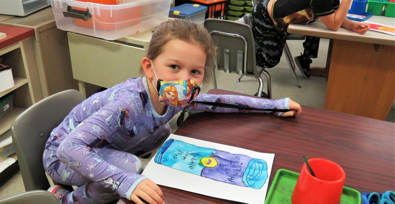 McFall students learn about water color artwork.