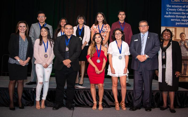 West Valley High School students receiving their Seal of Multiliteracy Award