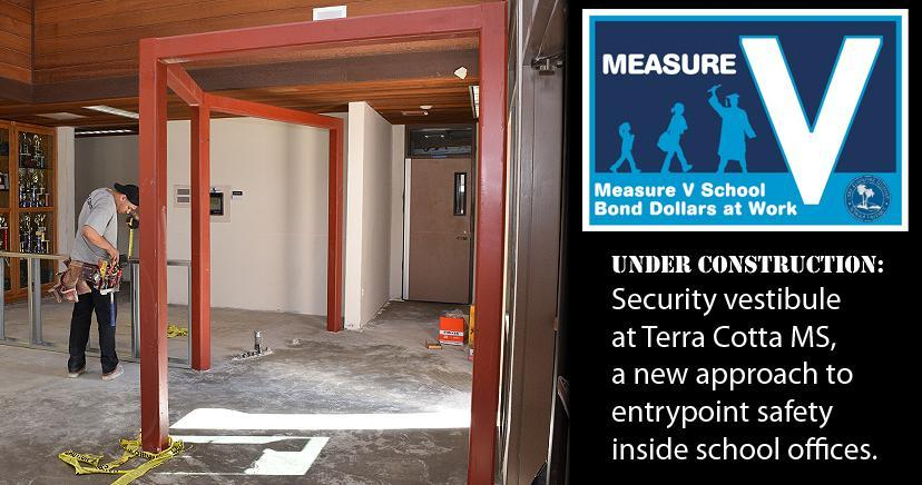 Measure V photo of security vestibule construction at Terra Cotta Middle School's main office