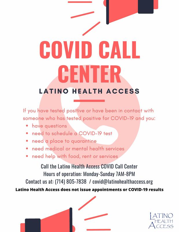 Covid call center information
