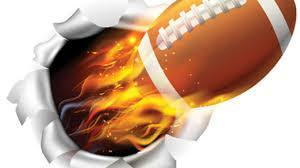 a graphic of a football propelled by fire