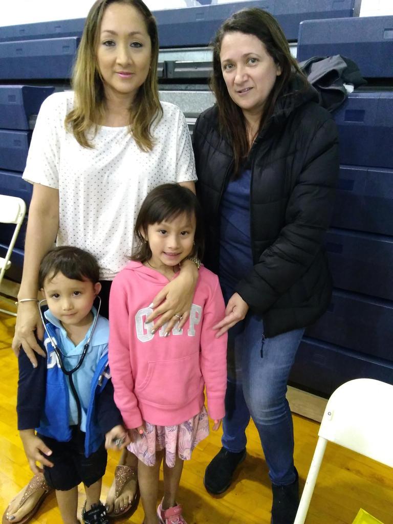 Happy family at the health fair