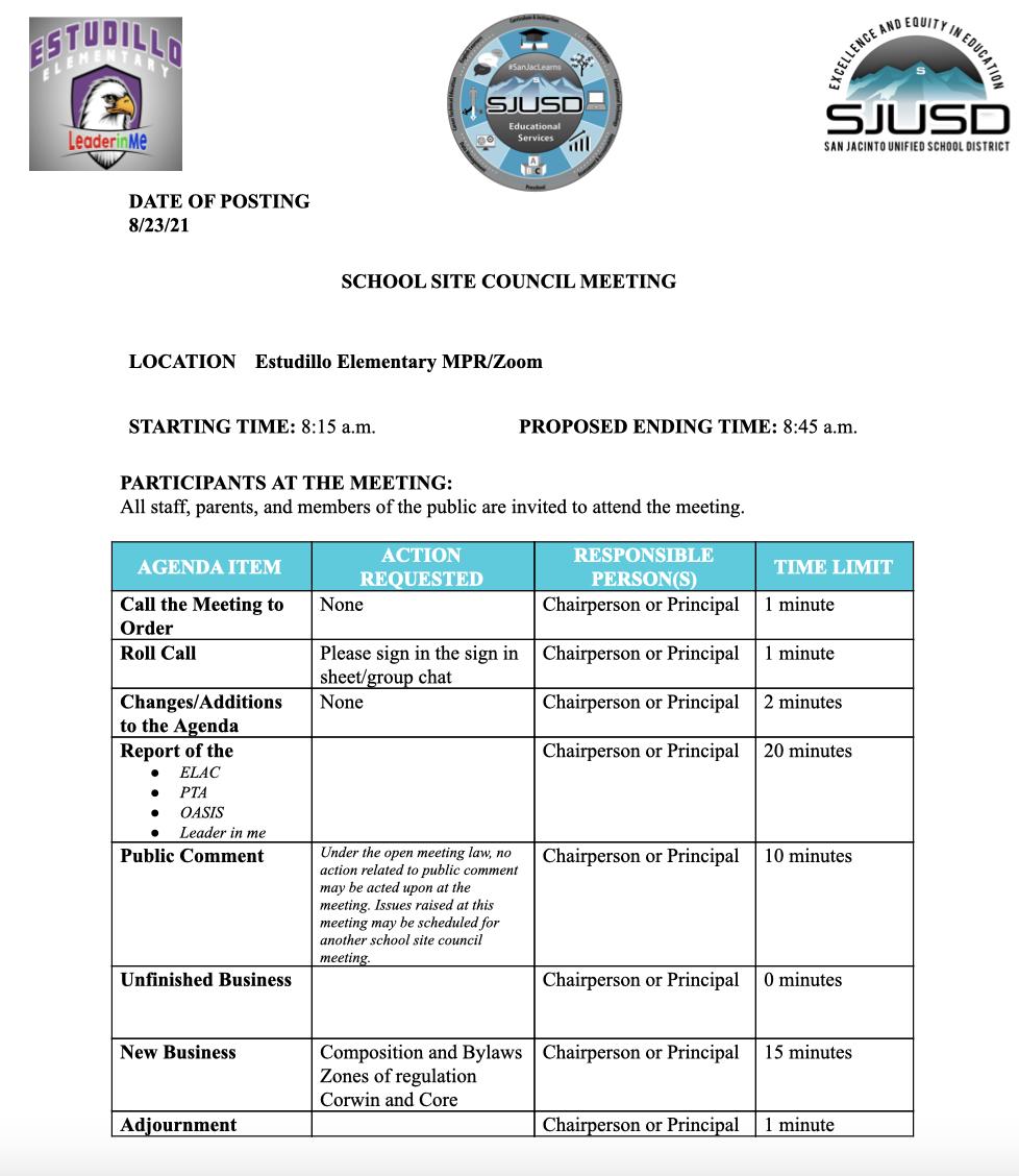 Estudillo School Site Council Meeting 8_26_21