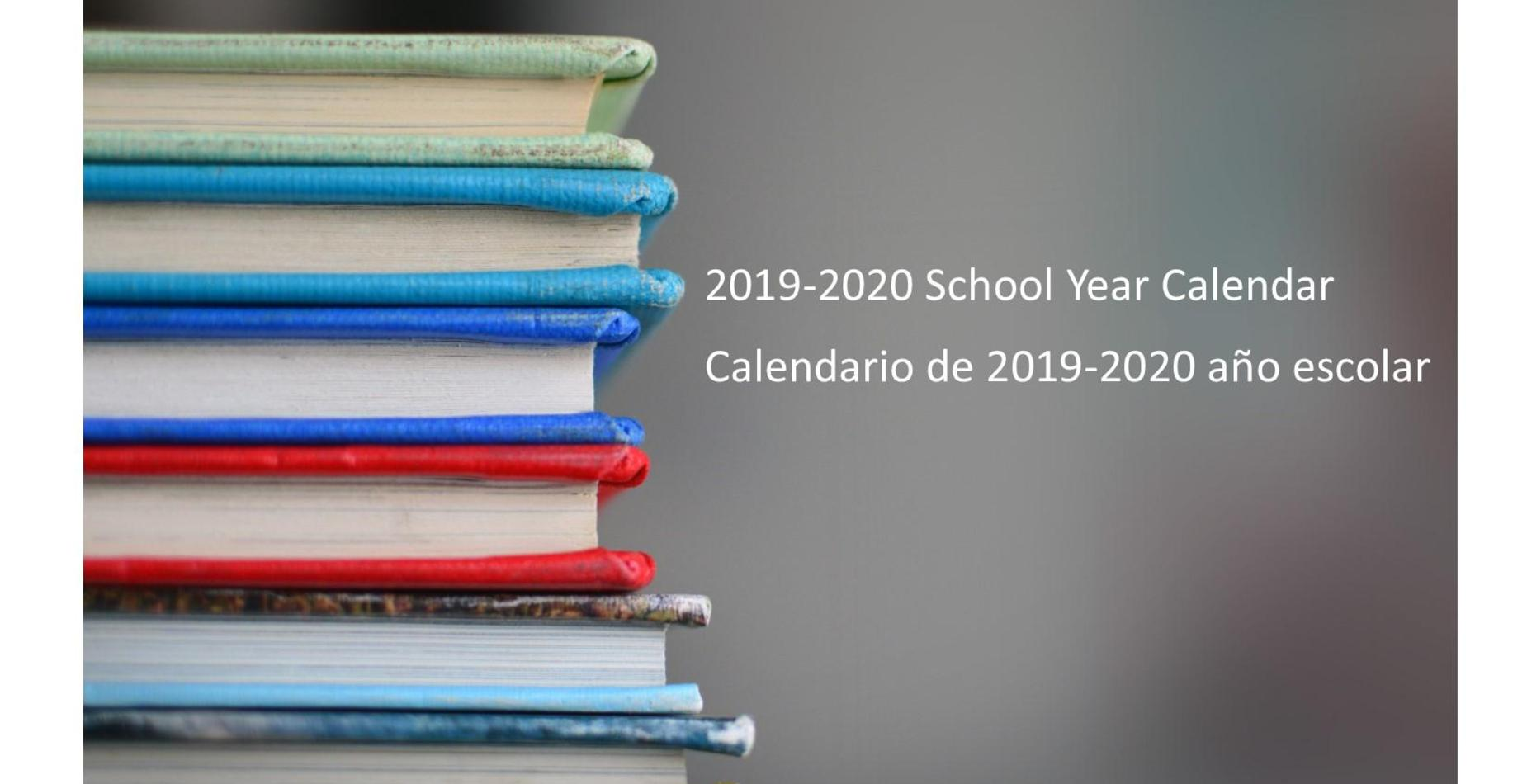picture of books with information on the 2019-20 school year calendar