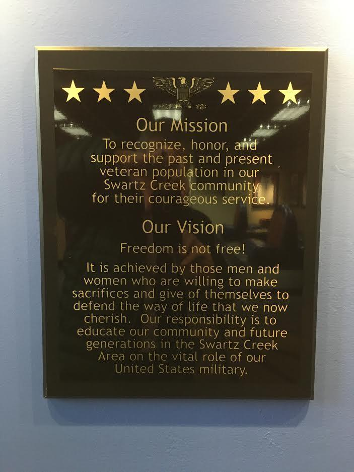 Swartz Creek Veterans' Wall of Honor Vision and Mission Placard