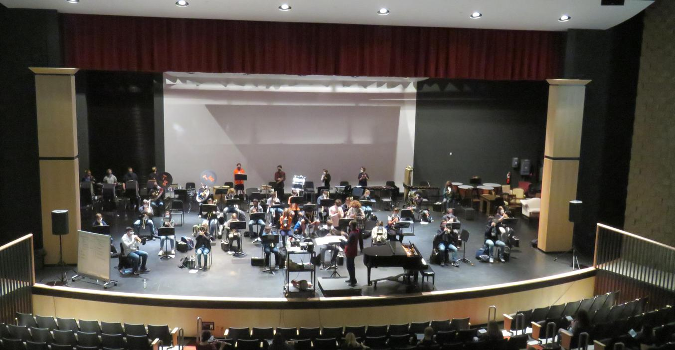 TKHS band practice in the auditorium where they have more room to space out.