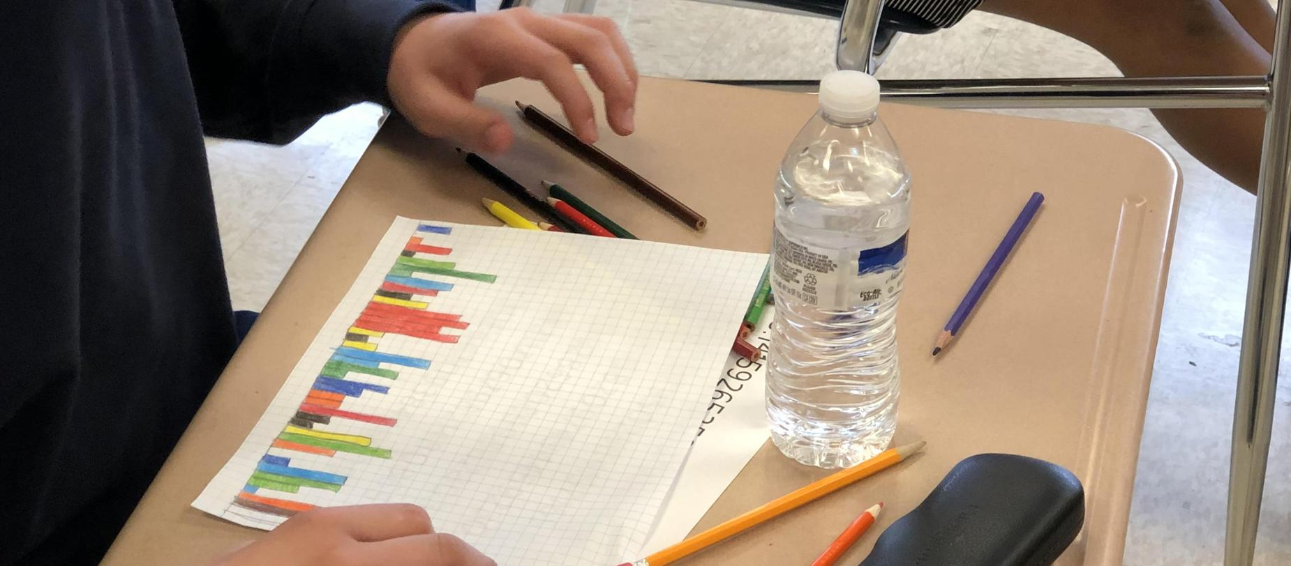 Students work on math problems during Pi Day, March 14.