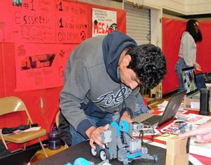 Sierra Vista High School students highlight science, technology, engineering, arts and mathematics (STEAM) opportunities available at the high school, including robotics and engineering courses, during Baldwin Park Unified's inaugural District Showcase on March 2.