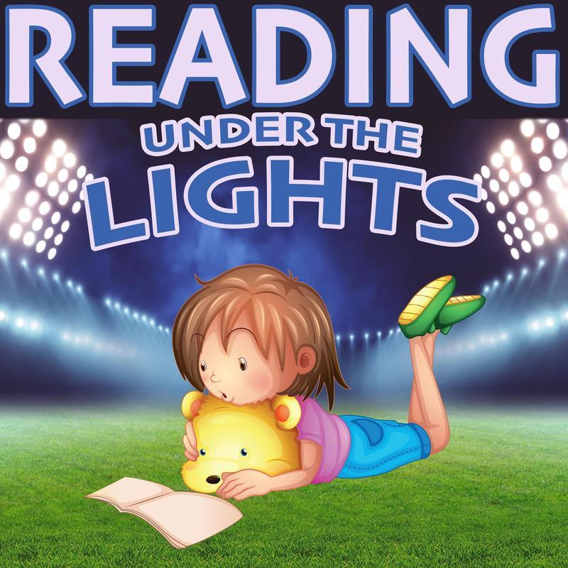 girl reading book under stadium lights