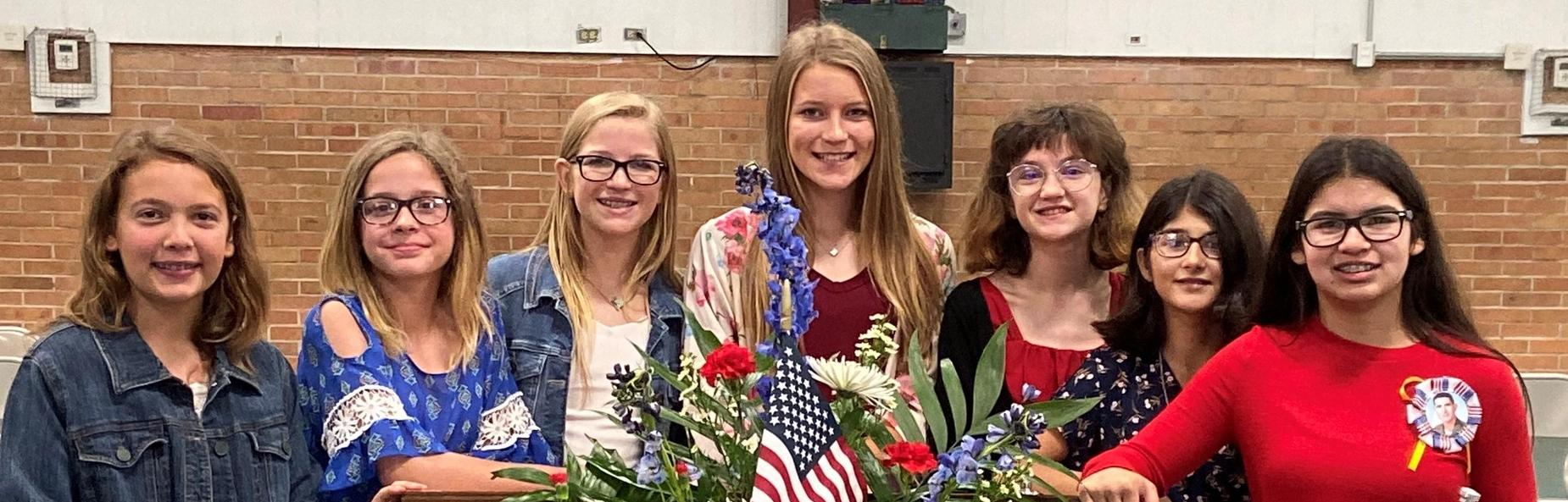 Students at veteran's day assembly