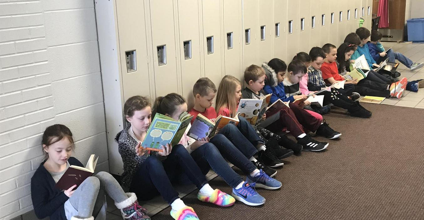 Students enjoyed hallway reading time during March.