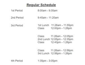 bell schedule Oct. 16, 2019