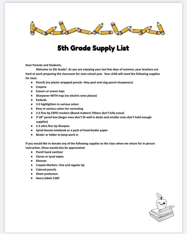 Suggested Supply Lists Thumbnail Image