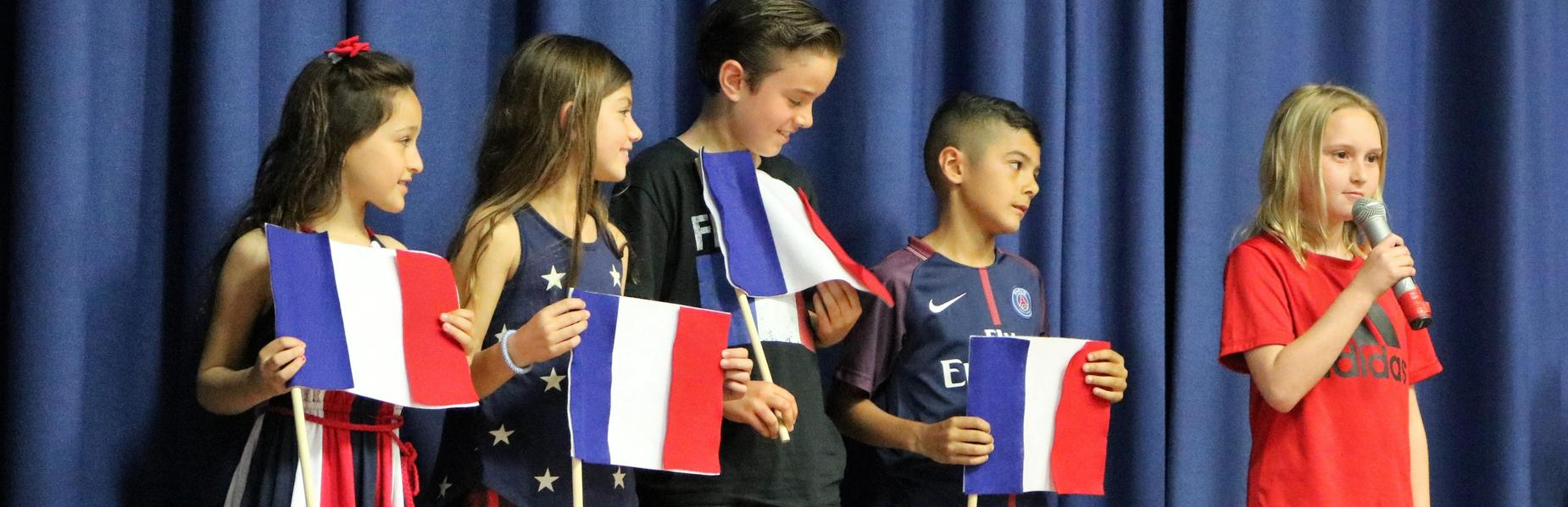 Photo of McKinley 3rd graders representing the Netherlands at an International Celebration.