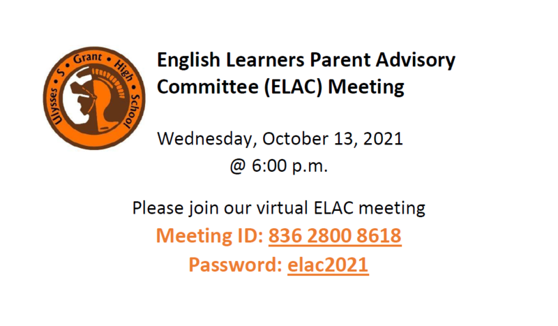ELAC Meeting, October 13 at 6 pm Featured Photo