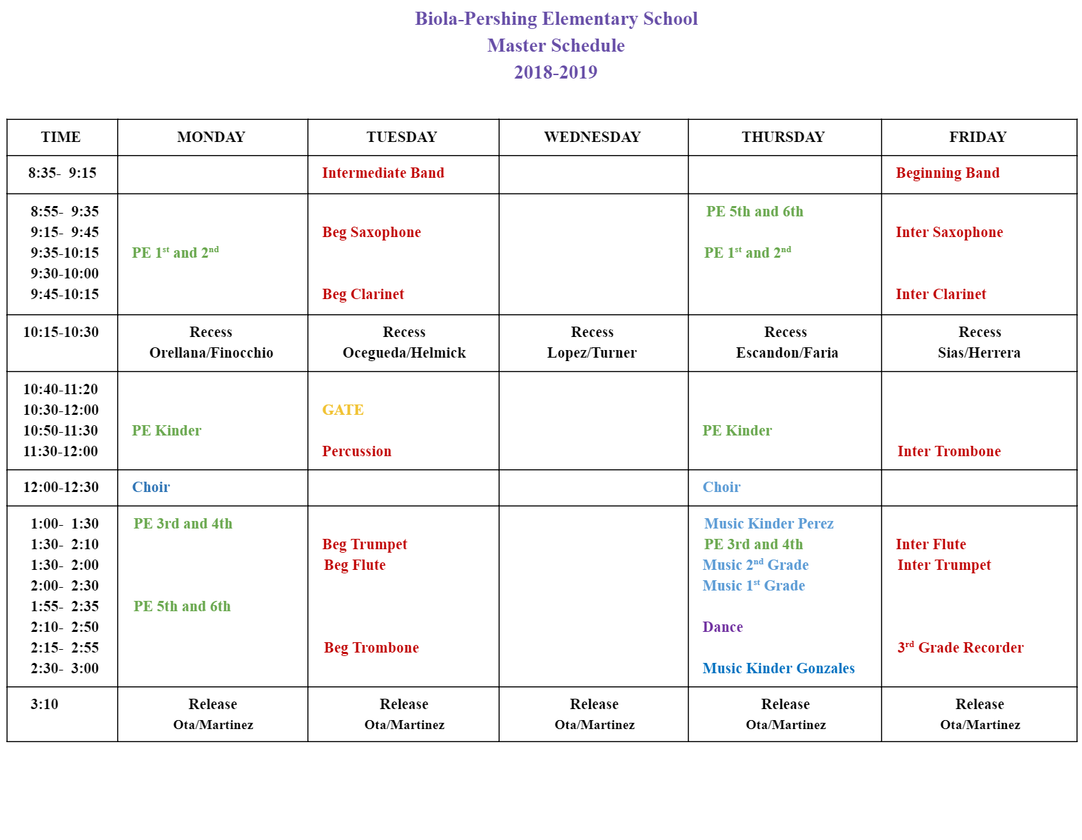 Master Schedule 2018 -2019