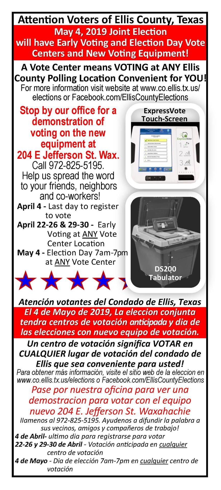 Voting centers and new equipment
