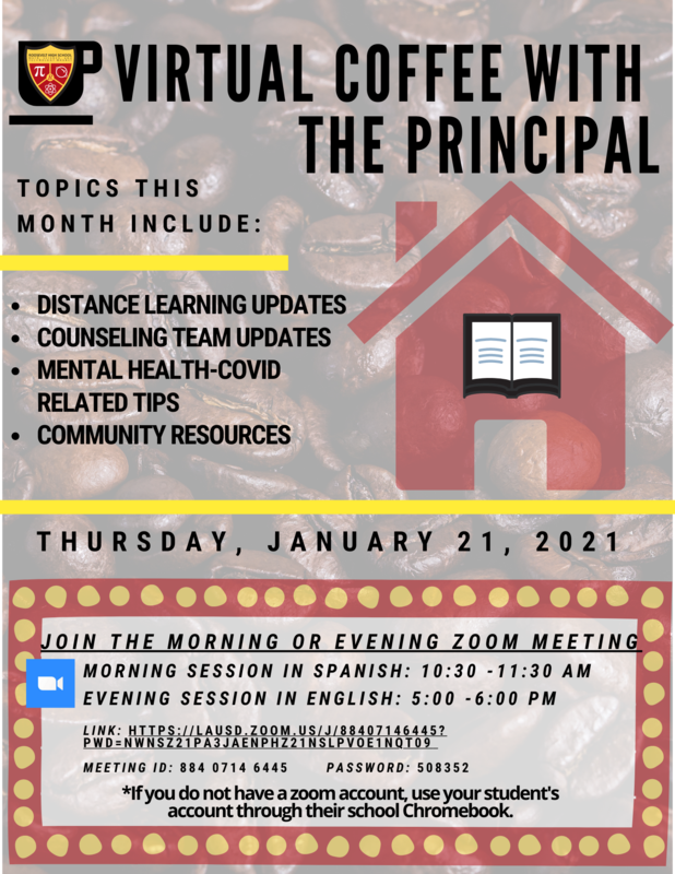 January Coffee with the Principal - Thursday Jan 21 2021 Featured Photo