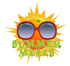Picture of an Animated Sun with Sunglasses with the Words Summer Meals